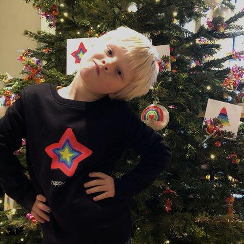 sweater kids black happy star