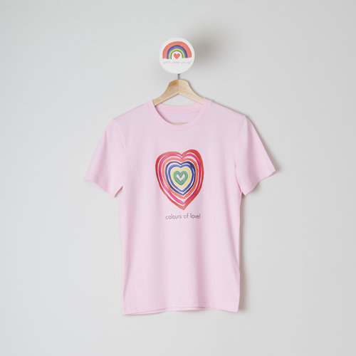 t-shirt unisex cotton pink colours of love