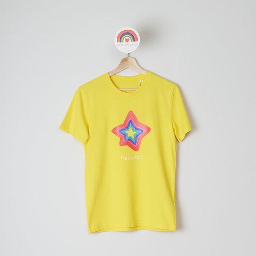 t-shirt unisex yellow happy star