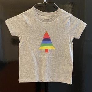 t-shirt kids grey happy x-mas