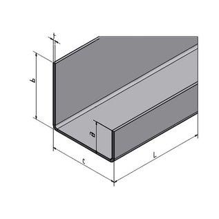 Versandmetall U-Profiel gelijk gezet axcxb 20x40x20 dikte 1,5mm lengte 2500 mm geschuurd(grid320)