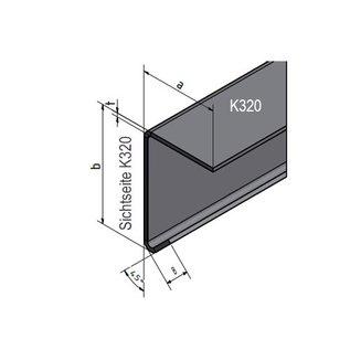Versandmetall Hoekprofiel groot gezet 90° met Druiprand binnenmaat axb= 150x60mm dikte 1,5mm lengte 2000mm