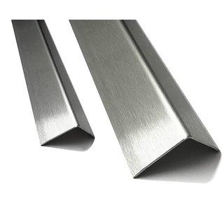 Versandmetall RVS 304 Hoekbeschermers Hoekprofiel 3X gezet 100x100 mm dikte 1,5mm lengte 2500 mm oppervlakke geschuurd (grid320)