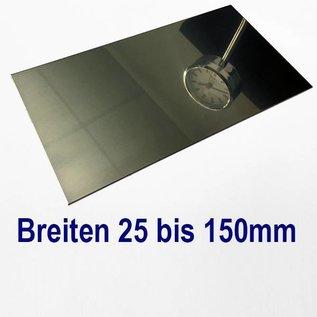 Versandmetall dunne plaat roestvrij staal, gesneden op Maat, Breedte 25 - 150 mm, Lengte 1000 mm, oppervlakke glanzend/spiegelnde