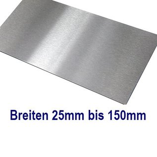 Versandmetall dunne plaat roestvrij Staal 1.4301 Plaatmaterial gesneden op Maat Breedte 25 - 150 mm Lengte 2500 mm, oppervlakke geschuurd(grid320)