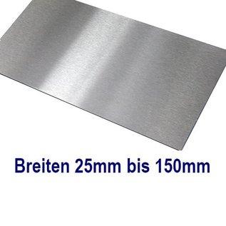 Versandmetall dunne Plaat Roestvrij Staal 1.4301, gesneden op Maat Breedte 25 - 150 mm Lengte 1250 mm oppervlakke geschuurd(grid320)
