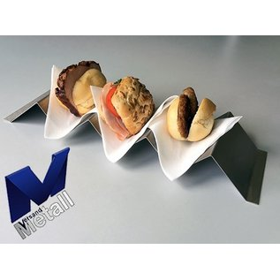 Versandmetall Hot dog tray, snack wave voor 3 Hot dogs