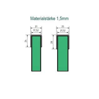 Versandmetall Einfassprofil Brüstungsglas Balkon aus 1,5 mm Edelstahl für Glasstärken von 8mm bis 21,52mm Glas