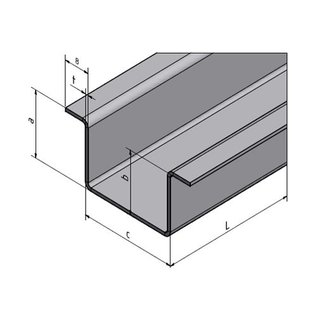 Versandmetall Hut-Profil aus Edelstahl gebürstet, Höhe 20mm Breite c= 30 bis 80mm Länge 2500 mm