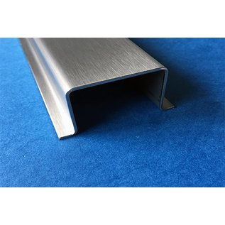 Versandmetall Omegaprofiel gemaakt van roestvrij Staal oppervlakke geschuurd Hogte 20 mm Breedte 30 mm - 80 mm, lengte 1000 mm