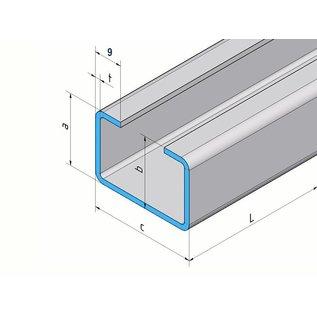 Versandmetall C-Profil aus Edelstahl gebürstet Höhe 20mm Breite c= 30 bis 80mm Länge 2500 mm