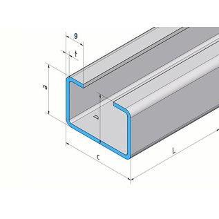 Versandmetall C-Profil aus Edelstahl gebürstet Höhe 20mm Breite c= 30 bis 80mm Länge 2000 mm