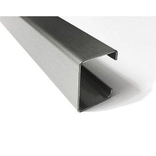 Versandmetall C-Profil aus Edelstahl gebürstet, Höhe 20mm Breite c= 30 bis 80mm Länge 1250 mm