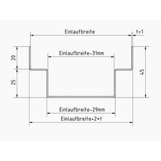 Versandmetall Drainagerinne aus Edelstahl Einlaufbreite 90 bis 140mm Bestellmengen 10m, 20m, 30m, 40m, 50m
