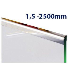 Versandmetall Glasrandprofiel U - Profiel, gemaakt van roestvrij Staal, lengtes tot 2500 mm vor Glasdickte van 8 mm tot 12,52 mm