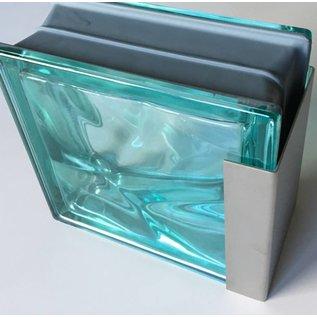 Versandmetall Einfassprofil Glasbaustein U-Profil aus 1,0 mm Edelstahl geeignet für Glasbaustein 80 und 100mm