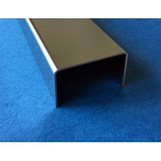 Versandmetall afsluitprofiel, frameprofiel, Glasbouwsteen, roestvrij Staal, dikte 2,0 mm, Lengte tot 2500 mm geschikt vor Glasbouwsteenen van 80 en 100 mm.