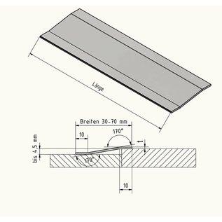 Versandmetall Ausgleichsprofil Übergangsleiste 4,5mm aus 1.4301 aus IIID-Blech Oberfläche spiegeloptik 2-fach abgekantet