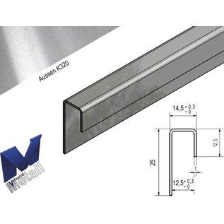 Versandmetall Glasprofiel Eindprofiel glanzend/spiegelnde  1,0 mm vor 12,5 mm Glas of Gipsplaat onglijk gezet oppervlakke geschuurd