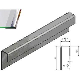 Versandmetall Glasrandprofiel U-Profiel glanzend/spiegelnde IIID  1,0 mm roestvrij Staal voor 10 mm Glas ongelijk gezet