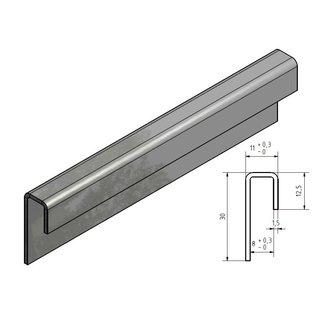 Versandmetall Glaseinfassprofil gebürstetK320 1,5mm Edelstahl für 8mm Glas ungleichschenkelig