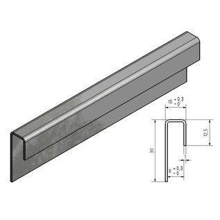 Versandmetall Glaseinfassprofil gebürstetK320 1,0mm Edelstahl für 8mm Glas ungleichschenkelig