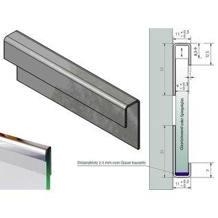Versandmetall Glasrandprofiel system Glas 1,0mm Kombiset met 2 onderdeelen c = 11 mm voor 8 tot 8,52mm dickte van Glas