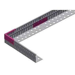 Versandmetall Grindkeringsprofiel Grindprofiel rechte verbinding groot geperforeerd Aluminium, Hogte 80-120mm gezet 90°