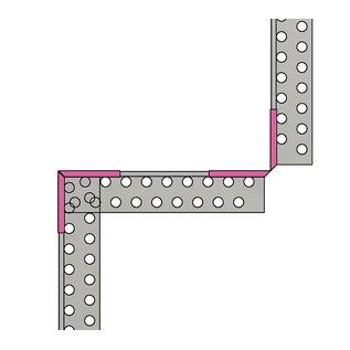 Versandmetall Grindkeringsprofiel grindprofiel groot rechte verbinding gemaakt van roestvrij Staal 1.4301 geperforeerd gezet 90°