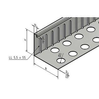 Versandmetall VERBINDER Kiesfangleiste groß - Edelstahl 1.4301 – Gelocht – 90° gekantet