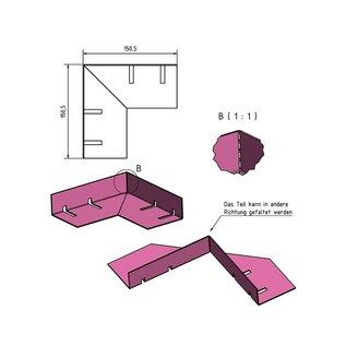 Versandmetall Grindkeringsprofiel Grindprofiel Verbinding klein dubbele Bovenrand gemaakt van roestvrij Staal 1.4301 geperforeerd, gezet 90°