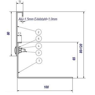 Versandmetall Grindkeringsprofiel Grindprofiel groot geperforeerd Aluminium Hoogte 80-120mm