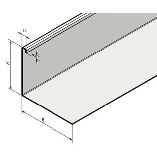 Versandmetall Grindkeringsprofiel Grindprofiel klein niet geperforeerd Aluminium Hogte 40-75mm