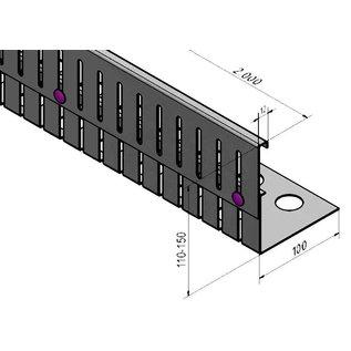 Versandmetall Grindkeringsprofiel Grindprofiel hoogte verstelbaar roestvrij Staal 1.4301 Hoogte 110-150mm gezet 90°