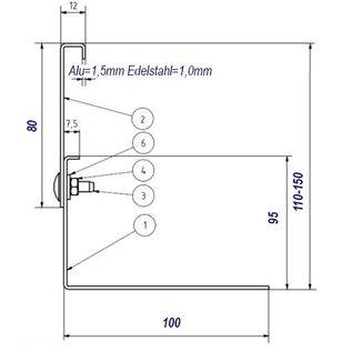 Versandmetall Kiesfangleiste Edelstahl höhenverstellbar 1.4301 Höhe 110-150mm – 90° gekantet