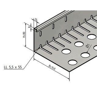 Versandmetall Grindkeringsprofiel Grindprofiel groot, geperforeerd roestvrij Staal 1.4301 Hogte 80-120mm gezet 90°