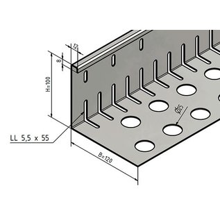 Versandmetall Kiesfangleiste groß gelocht - Edelstahl 1.4301 – Gelocht – 90° gekantet