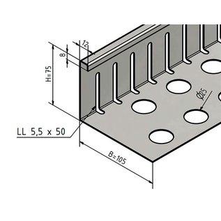 Versandmetall Kiesfangleiste klein - Edelstahl 1.4301 – Gelocht – 90° gekantet