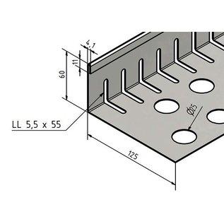 Versandmetall Grindkeringsprofiel Grindprofiel klein met dubbele Bovenrand roestvrij Staal geperforeerd 1.4301 gezet 90°