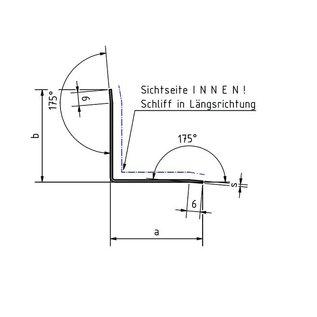 Versandmetall RVS 304 Hoekbeschermer roestvrij Staal Binnenhoek Lengte 2500 mm gelijkzijdig gezet 90°