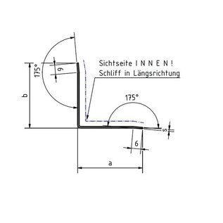 Versandmetall Innen Edelstahlwinkel Kantenschutzwinkel Eckschutzschiene gleichschenkelig 90° Länge 1500 mm
