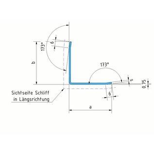 Versandmetall Hoeckbeschermer Hoekprofiel L-Profiel roestvrij Staal gelijkzijdig gezet 90° Lengte 1250 mm