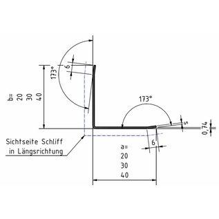 Versandmetall Hoekbeschermer hoekprofiel 3x gezet ongelijkzijdig lengte 2500 mm oppervlakke geschuurd (grid320)