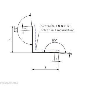 Versandmetall RVS 304 Hoekprofiel Hoekbeschermer binnenhoek Lengte 1000mm binnenzijde geschuurd (grid320)