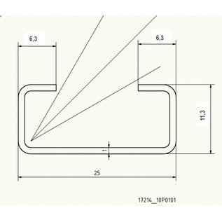 Versandmetall C-Profil klein 1,0mm H= 11mm d=6,3mm Breite 25mm L=1000 -2500mm Edelstahl