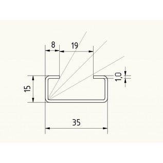 Versandmetall C-Profil klein gebürstet, Höhe 15mm Breite c= 35mm Länge 1000 -2500mm aus 1,0mm Edelstahl K320
