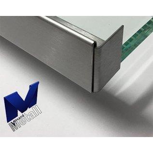 Versandmetall Edelstahl Glasdach-Regenrinne 18mm für ESG-Glas 18mm oder VSG Glas 17,52mm, 1.4301 aussen Schliff K320