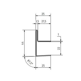 Versandmetall dakgoot Roestvrij Staal vor glasdakken 18mm buiten voor veiligheidsglas van 18mm of 17,52mm Materiaal 1.4301,Geschuurd(grid320)