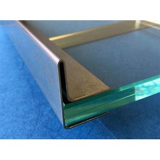 Versandmetall Edelstahl Glasdach-Regenrinne 22mm für ESG-Glas 21mm oder VSG Glas 21,52mm, 1.4301 aussen Schliff K320