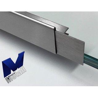Versandmetall dakgoot Roestvrij Staal vor glasdakken 13mm buiten voor veiligheidsglas van 18mm of 12,52mm Materiaal 1.4301,Geschuurd(grid320)